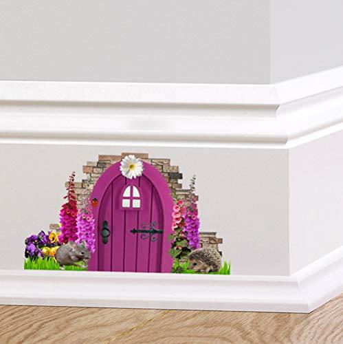 couleur complète violet Fée Lutin porte autocollant mural décoration digitales hérisson souris