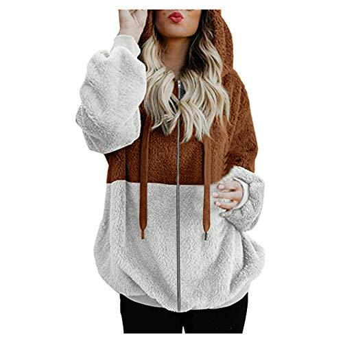 Damen Teddy Fleece Pullover, Colorblock Kapuzenpullover Hoodie Sweatshirts Winter Warme Oversize Jacken Outwear mit Reissverschluss
