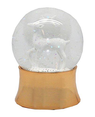 20052 Schneekugel Weihnachten REH weiß mit kupfergold-Sockel gerade mit Spieluhr 100mm Durchmesser