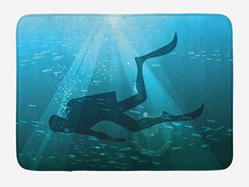 Alfombra de baño de buceo, silueta de buzo con ilustración de hobby de mar profundo de grupo de peces pequeños, alfombra de felpa decorativa para baño con respaldo antideslizante, azul pálido, amarill
