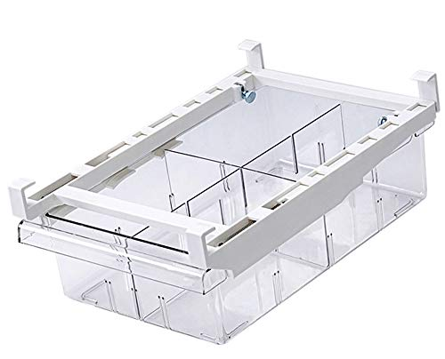 Cajón de Organización para Nevera, ZoneYan Caja de Almacenamiento para Frigorífico, Organizador de Nevera Transparente, Frigorifico Cajones Extraibles (4 Cuadrícula)
