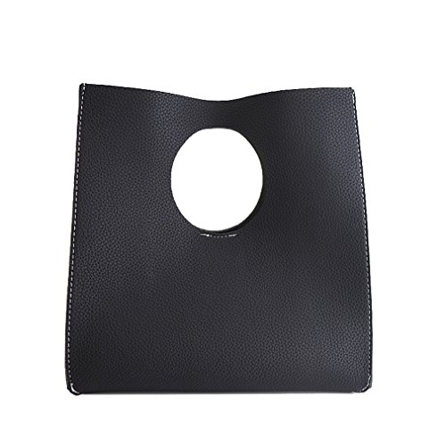 Hoxis Vintage Minimalist Style Soft Pu Leather Handbag Clutch Small Tote (Black)