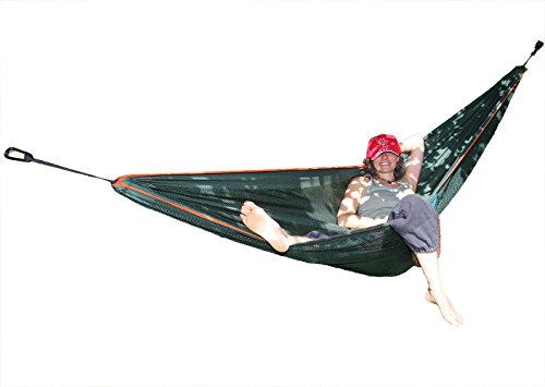 Zwei Personen Netz Hängematte Polyester mit AIR COOLING; 280x160cm Liegefläche für Reisen Camping Balkon; Haengematte ist Out/Indoor geeignet inkl Befestigung 2xKarabiner +4x 2mSeile 250kg belastbar
