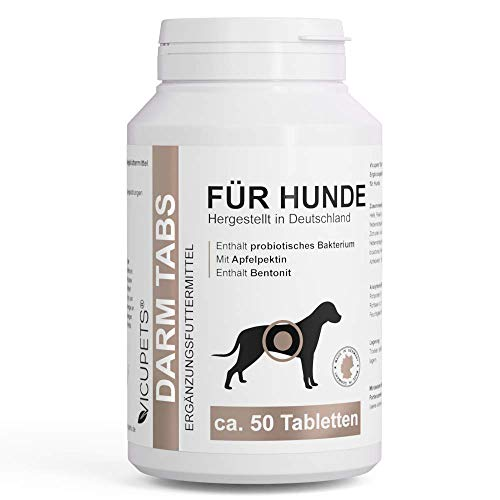 Vicupets Kräuter Darm Tabs für Hunde I Probiotisches Bakterium zur Unterstützung der Verdauung I 100 g I ca. 50 Kautabletten I Verdauungshilfe