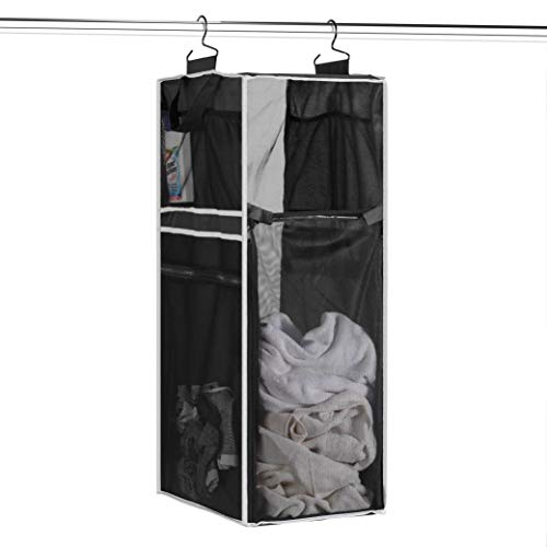 Space Saving Hanging Laundry Hamper [70L Load Capacity] (2 Pack) Free Up Floor Space, Breathable Mesh Hanging Laundry Bag Side Pockets, Carrying Handles, Zippered Front Easy Unloading, Ideal for Dorm