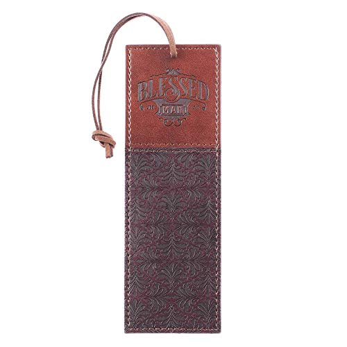 Christian Art Gifts Faux Leather Bookmark Blessed Man Jeremiah 17:7 w/Corded Tassel, Brown