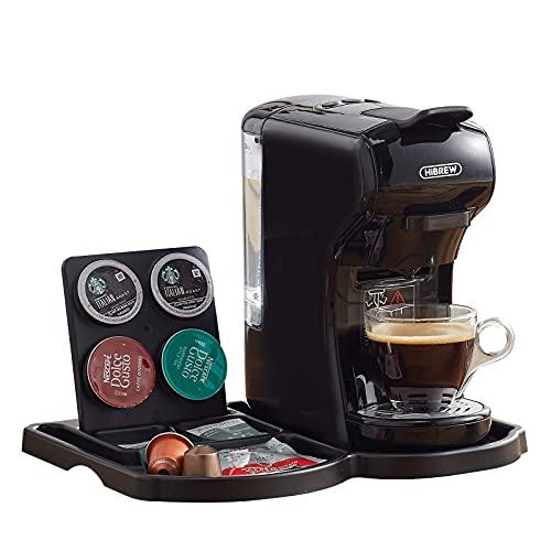 HiBrew H1 - Máquina de Café Espresso Italiano - Cafetera Multi Cápsulas 4 en 1, 19 Bares, 600 ml 1450 W (negro)