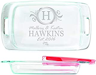 Engraved Glass Baking Dish with Lid 9x13 - Personalized - Name with Monogram Badge