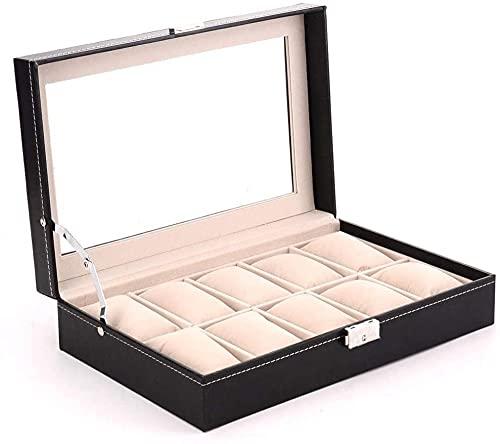 Caja de relojes, caja de almacenamiento de relojes, elegante caja de almacenamiento para hasta 10 relojes de pulsera de joyería Colecciones de moda