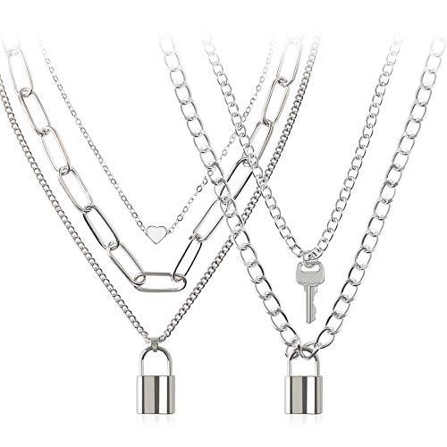 BVROSKI Lock Chain Necklace, Egirl Chains, Statement Lock Key Pendant Necklace Silver Set Eboy Long Multilayer Chains Punk Choker 2 Set(5 Layer)