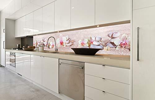 DIMEX LINE Küchenrückwand Folie selbstklebend Zen Garten | Klebefolie - Dekofolie - Spritzschutz für Küche | Premium QUALITÄT - Made in EU | 350 cm x 60 cm