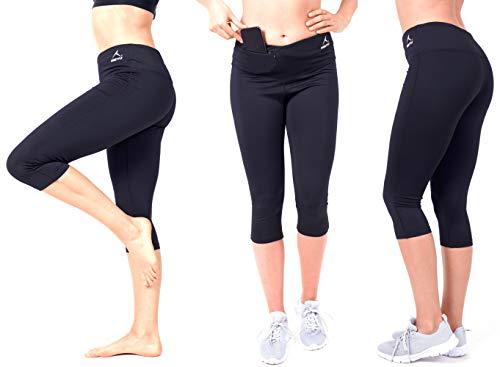 RUNSTYLE  Running Laufhose 3/4 für Damen, Fitness - Yoga, Leggins Strech-Hose, Wasserabweisende Innentasche mit Reißverschluss, für alle...