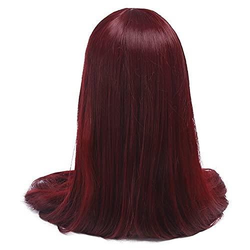 Peluca de 60 pulgadas, 150 cm de largo, para mujer, 7 colores, liso, beige, negro, rubio, pelo sintético para Halloween, cosplay (color: rojo vino, longitud estirada: 60 pulgadas)