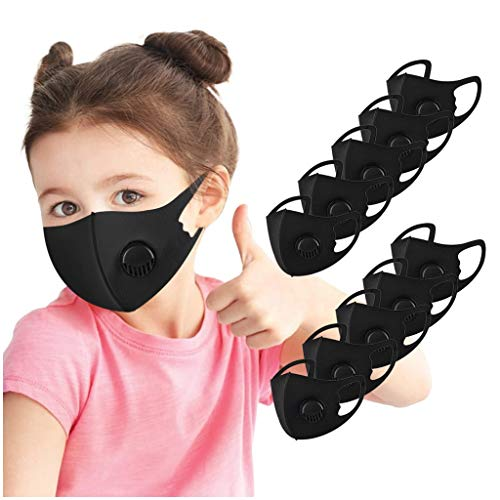 10-Pack Mouth Coverings for Kids丨Washable Reusable Breathable Face Protection for School