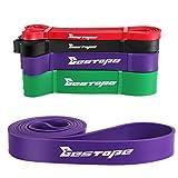 Bestope Bandes de résistance Fitness élastique Bandes d'exercice entraînement Latex Naturel Élastique pourYoga,Pilates,Danseurs Fitness 35 to 85 lbs Violet