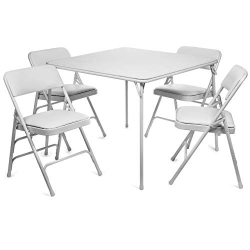 XL Series Vinyl Folding Card Table and Chair Set (5pc) - Comfortable Padded Upholstery for Easy Cleaning - Fold Away Design, Easy Storage - Premium Quality, Wheelchair Accessible (White)