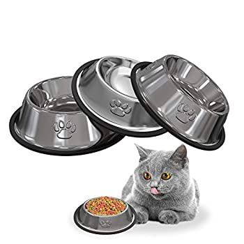 3pcs Gamelles Bol pour Chat et Petit Chien en Acier Inoxydable Base Antidérapant, Fournitures pour animaux