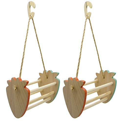 SH-RuiDu Paquete de 2 loros fresa Swing juguete de madera soporte de escritorio colgante cesta de juguete para pájaros hámster