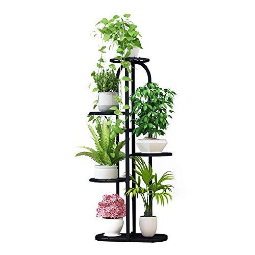 Metal 5 Tiers Plant Stand Indoor Garden Flower Pot Holder, Flower Rack Display Stand (Black)
