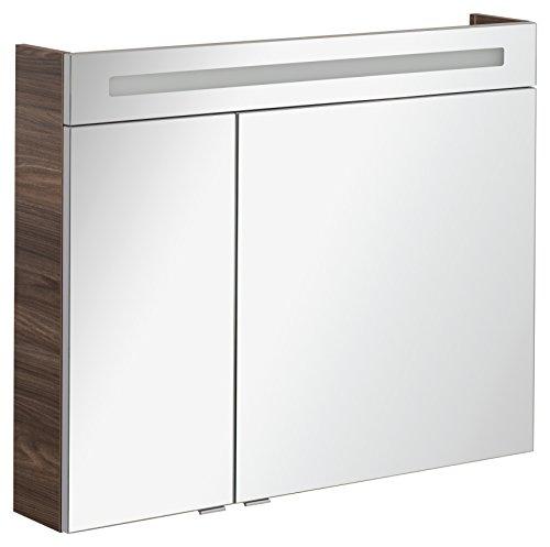 FACKELMANN Spiegelschrank B.CLEVER/zweitürig/Spiegelschrank mit gedämpften Scharnieren/Maße (B x H x T): ca. 90 x 71 x 16 cm/hochwertiger Spiegelschrank/Möbel fürs Bad/Korpus: Braun dunkel