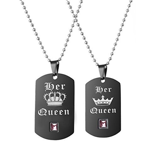 Uloveido A Pair of Her Queen Lesbian Pride Necklaces Set for Women with Pink Cubic Zirconia, Dog Tag, Black Titanium Stainless Steel Couple Necklaces with Charm Pendant SN126