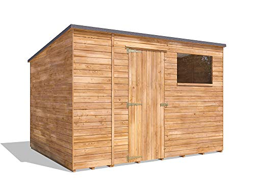 Dunster House Pent Roof Pressure Treated Wooden Garden Storage Building Workshop Dad's Shed III (W3m x D2.4m)