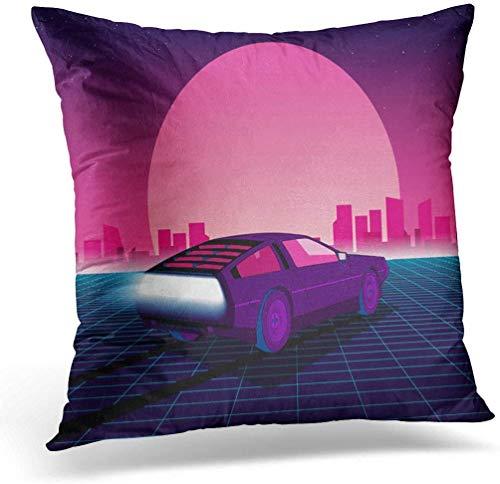 Kingam, federa per cuscino retrò futuro anni '80, Sci Fi Supercar, futuristica auto Synth, 45 x 45 cm, decorazione per la casa, cuscino quadrato per letto e divano