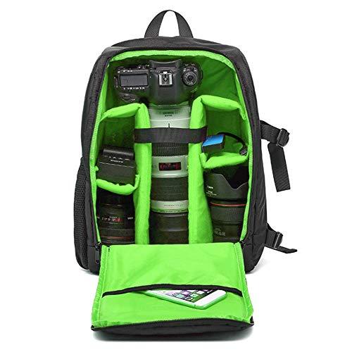 WDXB Kameratasche Rucksack, Wasserdicht Und Stoßfest Außentasche Für Digitale Spiegelreflexkamera Spiegellosen Kamerablitz Oder Anderes Zubehör,Grün