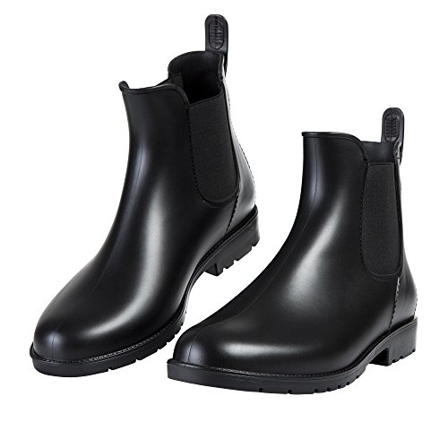 Asgard Women's Short Rain Boots Waterproof Black Elastic Slip On Ankle Booties, 7, Black
