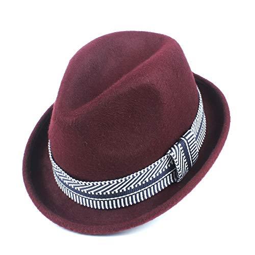 SSHZJUS Lanas de la Manera Invierno de Las señoras Fedora Fedora Sombrero Elegante Caballero Iglesia Jazz Gorra (Color : Vino Rojo, Size : 56-58cm)