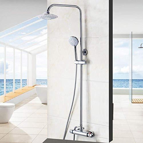 Yhtech Montado en la pared Juego de ducha, de 8 pulgadas termostática de ducha de lluvia del grifo de ducha de cabeza for el baño Juego de ducha