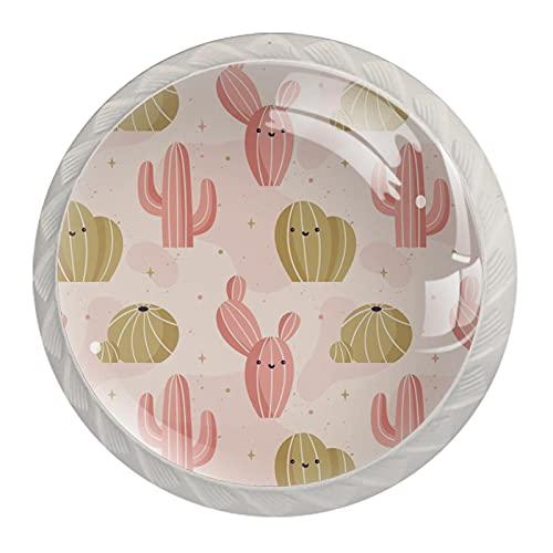 Pomos de cajón – 4 pomos de cajón con tornillos para el hogar, cocina, oficina, gabinete, cajón, cactus – rosa y amarillo estrellado