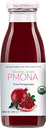 PMONA Organic Pure Pomegranate Juice, 8.4 Oz Bottle (Pack of 12), Cold Pressed Organic Juice, NonGMO, No Sugar Added, Not from Concentrate, Gluten Free, Kosher Certified, Preservative Free, 100.8 Oz