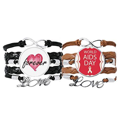 Bestchong Red Ribbon 1st Diciembre VIH Pulsera Correa de mano Cuerda de cuero Forever Love Wristband Set doble