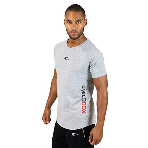 SMILODOX Slim Fit T-Shirt Herren \'Slim Fit 1.0 \'   Kurzarm   Sport Fitness Gym & Training   Trainingsshirt - Sportshirt, Größe:L, Farbe:Grau
