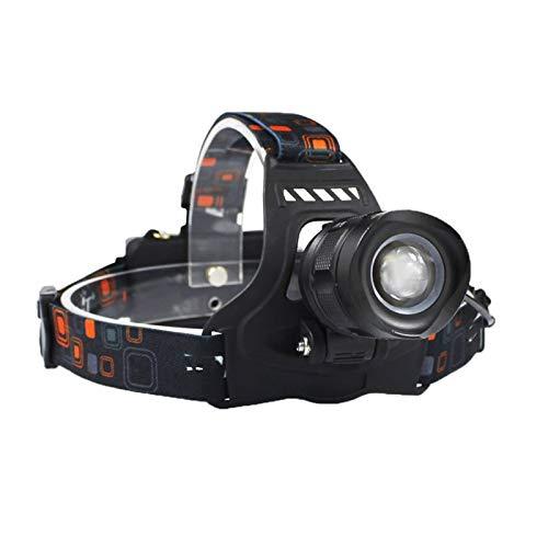MissLi Linterna Frontal LED 3000LM Linterna Frontal con Zoom De 5 Modos Recargable 18650 Banco De Energía Linterna Frontal Impermeable para Acampar