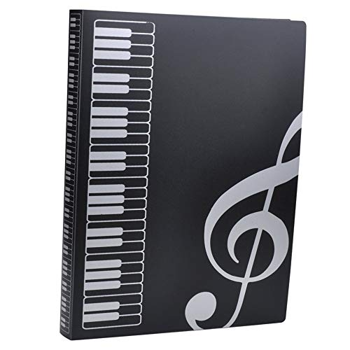 Notenmappe A4 Größe Blatt Notenmappe Papier Dokumente Musik Thematik 40 Taschen Aufbewahrungsmappe G Clef File Folder -Black