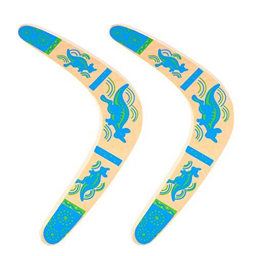 ABOOFAN 2 peças de bumerangues infantis de madeira clássicos bumerangues de retorno com arte colorida