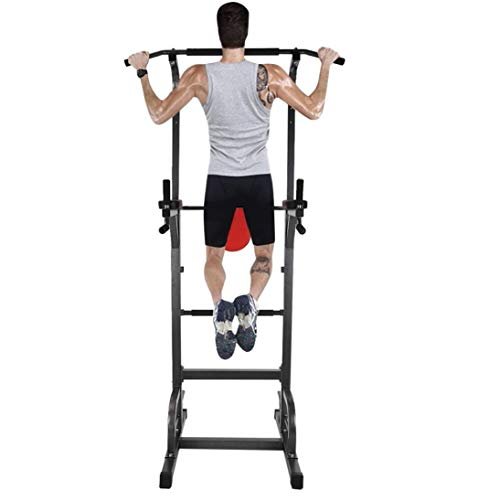 [US Fast Shipment] Power Tower Workout Dip Station for Home Gym Strength Training Fitness Equipment, Upgraded Version, Max Load 660 lbs, Height Adjustable 58.5'' - 89'', for Indoor Home Gym Fitness Features Fitness Gyms Home Sports