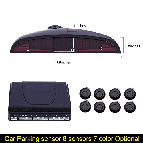 Review White : Car Parking sensors 8 sensors parktronic kit Display Reverse Backup Radar Detector Sy...