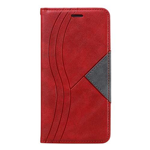 Funda para Samsung Galaxy A02S, de piel sintética a prueba de golpes, con cierre magnético, ranuras para tarjetas, funda protectora delgada para Samsung Galaxy A02S, color rojo