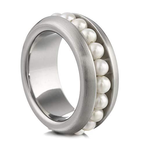 Heideman Ring Damen aus Edelstahl Silber farbend Strich matt Damenring für Frauen mit Swarovski Perle Weiss Perlenkette 3mm