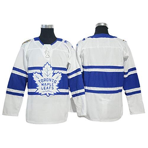 HYQ NHL Toronto Maple Leafs, Männer Pullover, Breathable Langarm-T-Shirt, Blank Version, Blau, Spieler-Jersey schnelltrocknGelegenheits Trikots,White Blue,XL=54