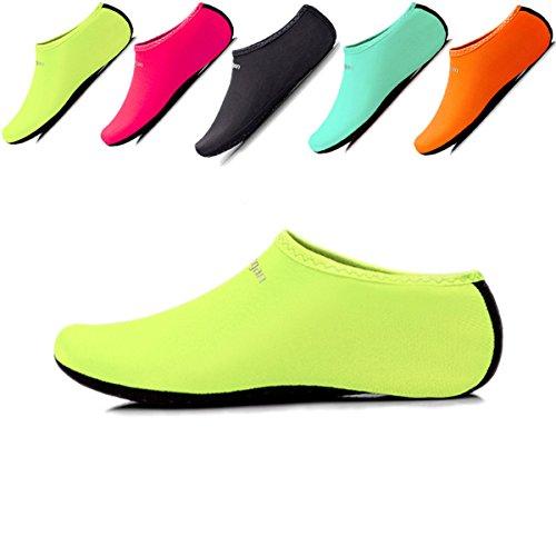JIASUQI Summer Swimming Pool Water Shoes Aqua Socks for Women Men Green XL US 8.5-10.5 Women,7-8 Men