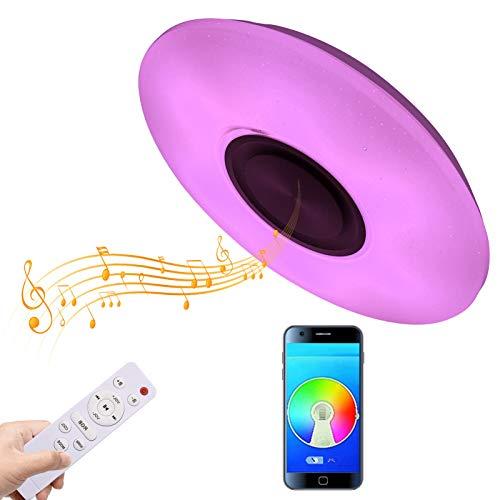 Viugreum Lámpara de techo LED con altavoz Bluetooth, 36 W, 220 V, 40 cm de diámetro, luz de techo RGB para casa con aplicación + control remoto para sala de estar, dormitorio, hogar inteligente