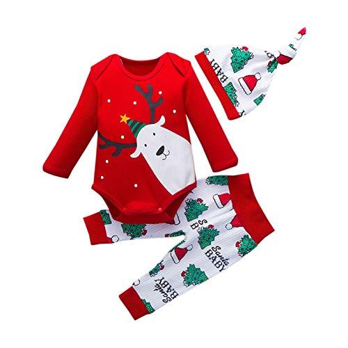 Huisdecoratie 3 stks Kerst vakantie outfits pakken 0-18M pasgeboren baby meisje kleding kleding set lange mouwen t-shirt romper tops + broek + hoeden Zacht en comfortabel