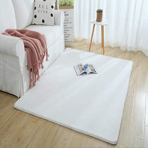 しい フェイクシープスキンラグ ムートンマット 洗える 人工ウールマット毛 絨毯 ふんわり 柔らか滑り止め付き高級感あるソファシートリビングルームベドルームラグ (ホワイト, 60x90)
