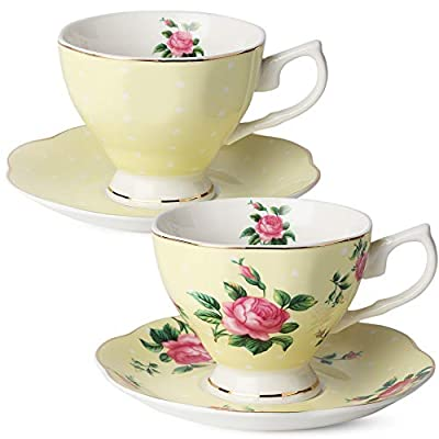 BTaT- Floral Tea Cups and Saucers, Set of 2 (Yellow - 8 oz) with Gold Trim and Gift Box, Coffee Cups, Floral Tea Cup Set, British Tea Cups, Porcelain Tea Set, Tea Sets for Women, Latte Cups
