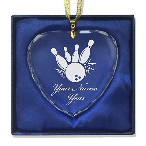 LaserGram Christmas Ornament, Bowling Ball and Pins, Personalized Engraving Included (Heart Shape)