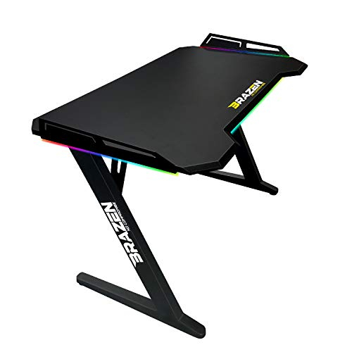 BraZen Esports PRO RGB Lighting Gaming Table And Games Desk + Headphones Stand + Remote and Colour Changing Feature